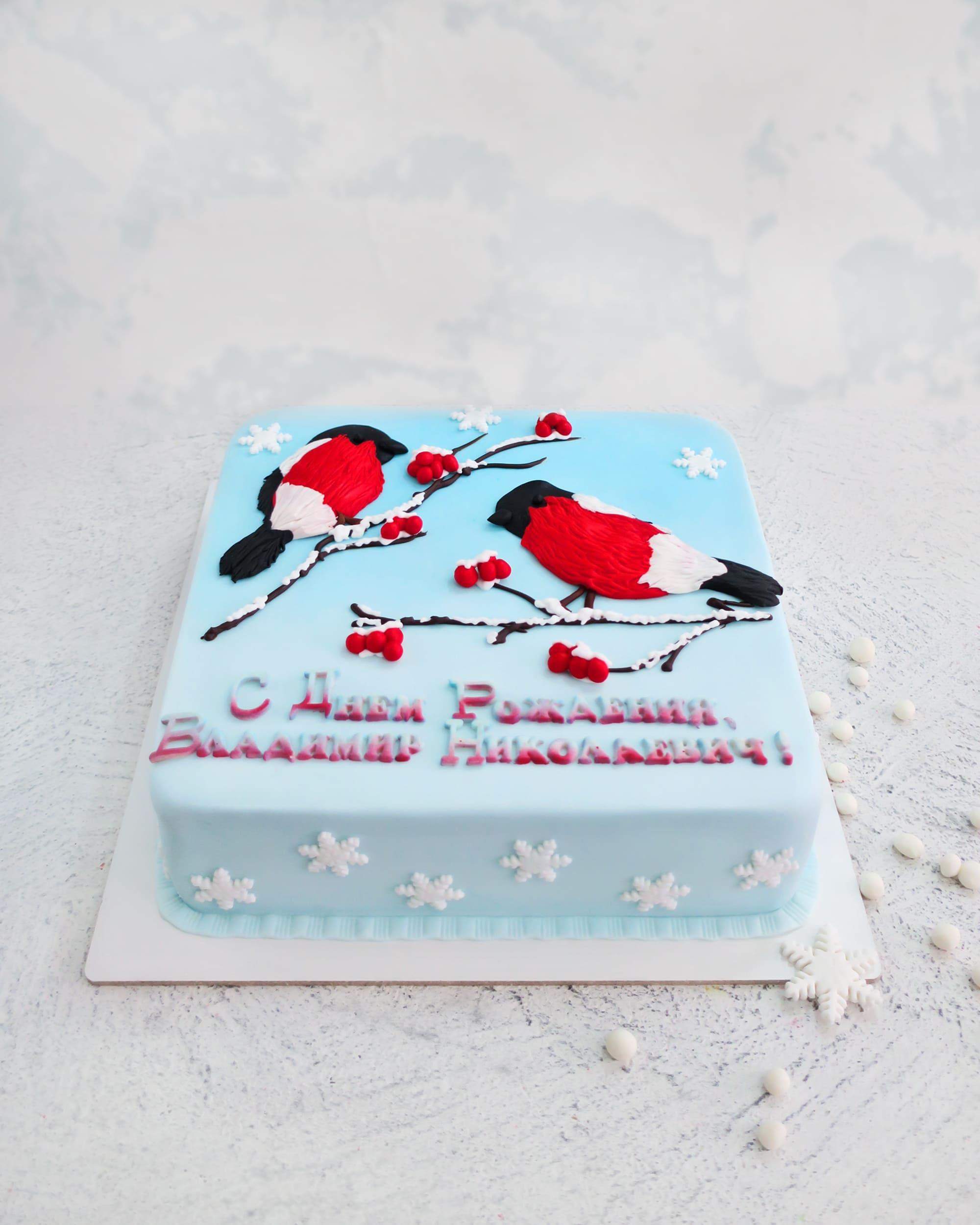 Торт Снегири - фото
