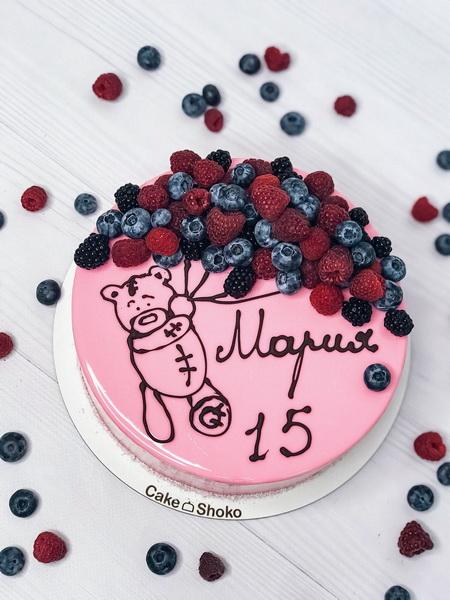Торт Мишка в ягоде - фото