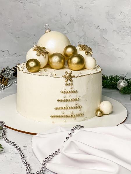 Торт Ёлка с шариками - фото